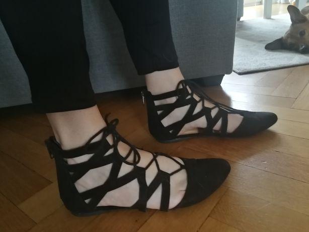 Sandały czarne zamszowe r. 37
