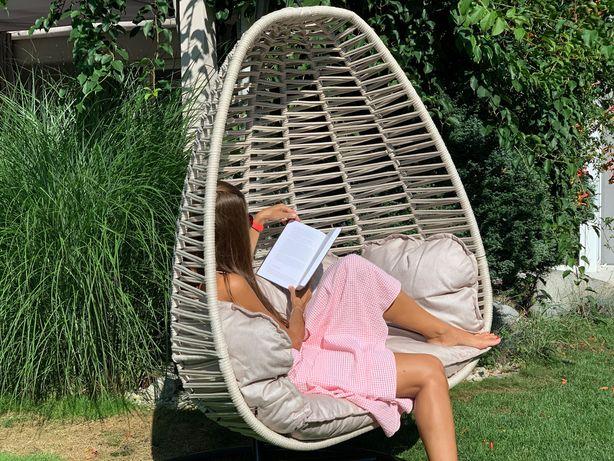 Bosfor XL fotel wiszący kokon na stelażu bujak beżowoszary
