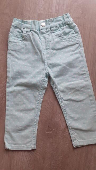 Spodnie jeansy miętowe w groszki