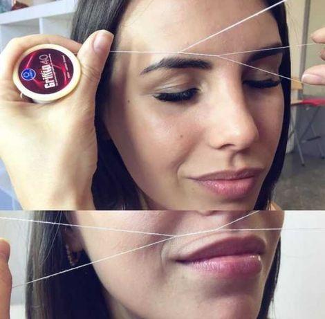 Тридинг (удаление волос  на лице с помощью нитью )