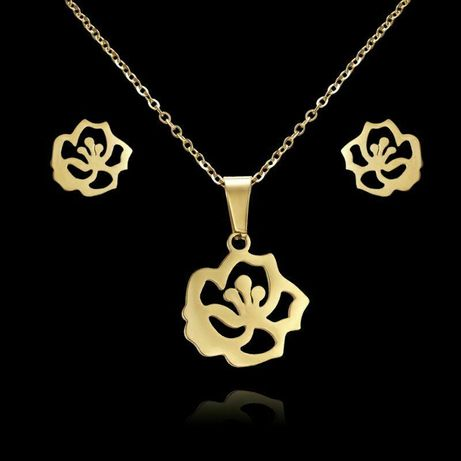 FLOWERS Złoty Komplet Biżuterii Naszyjnik + Kolczyki