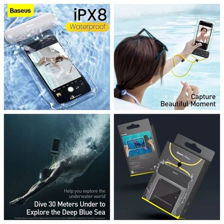 Bolsa P/ Smartphone Universal à prova de água -Branco-Baseus-Nova-24h