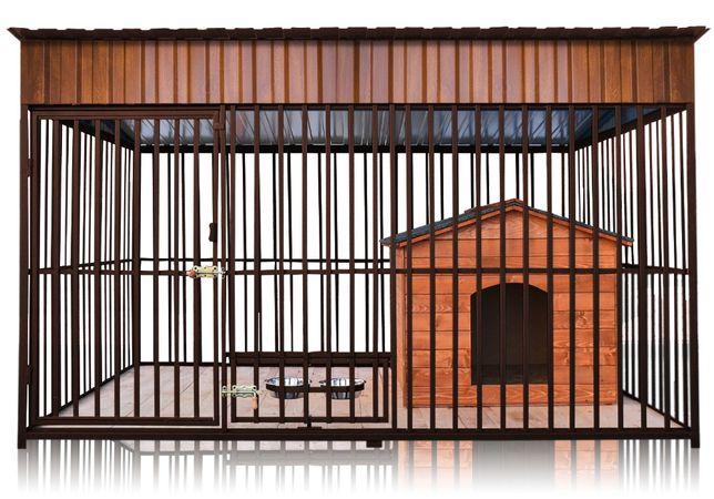 Kojec dla Psa z Budą, Dachem i Podłogą, Kojce dla psów Klatka 2,9x2m