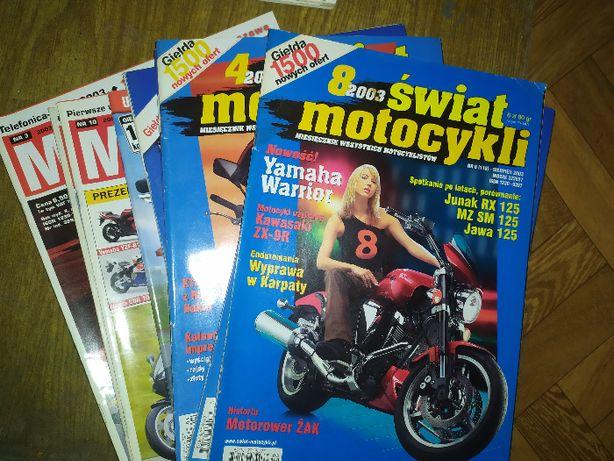 Magazyn Motocykl oraz Świat Motocykli z 2003 roku, zestaw 8 gazet