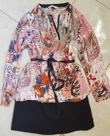 M/L Bluzka zwiewna flower elegancka liście kwiaty koszula