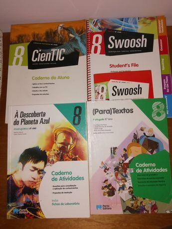 Cadernos de atividades 8°ano ciências, inglês, fis/quim. e português