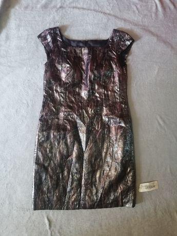 Czarna srebrna sukienka elegancka ml