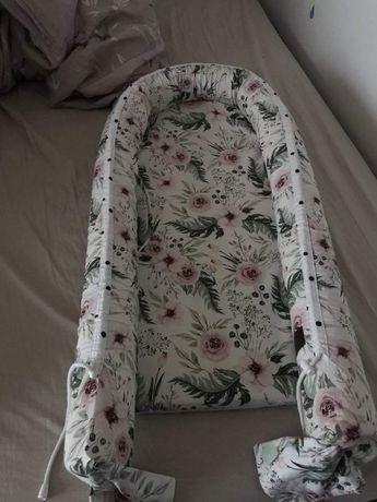 Kokon niemowlę sleepee kwiaty groszki dwustronny gnkazko