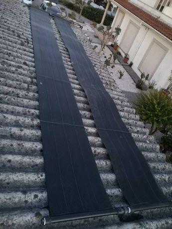 Aspirador e painéis solares para piscina