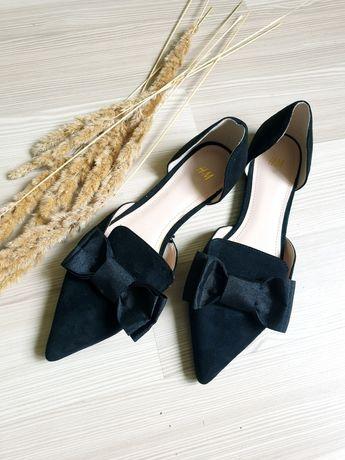 Туфли лодочки h&m текстильные по замшу 37 острый носок
