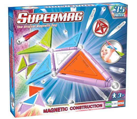 Supermag klocki magnetyczne nowe 35 el. zestaw konstrukcyjny pastele