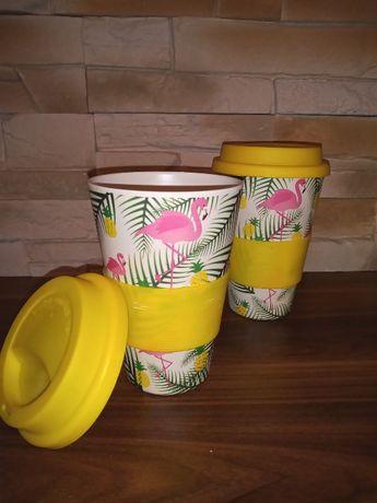 Zestaw Pakiet Komplet Bambusowych Kubków Flaming Żółty Liście Ananas