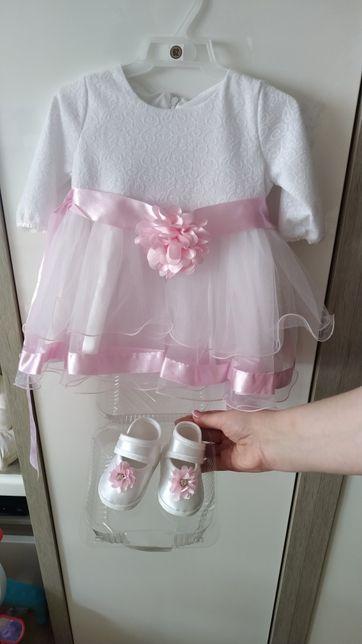 Sukienka na chrzest + buciki niechodki