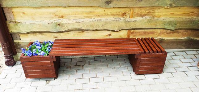Ławka ogrodowa drewniana z donicami 200x40x40cm