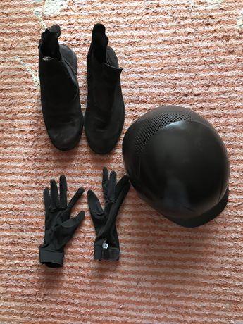 Equitação Toque, botas e luvas