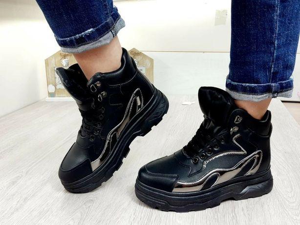 Зимние кроссовки,чёрные кроссы, ботинки, сапоги, сапожки женские 37