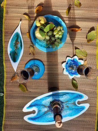 Сервировочная тарелка конфетница подстаканники держатель для бокалов