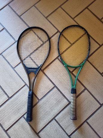 Duas raquetes de tênis Dunlop e Head