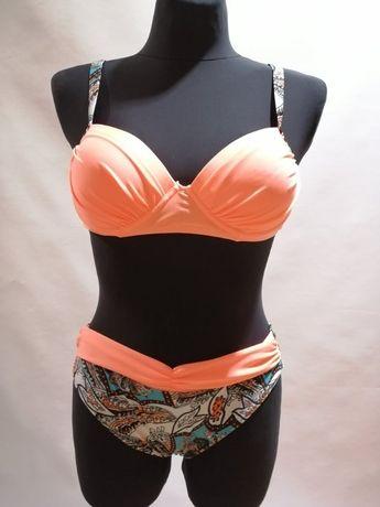 NOWY Strój dwuchęściowy Kostium kąpielowy Bikini Morela Wzór S M, L XL