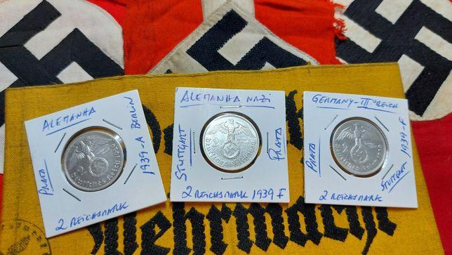 2 reichsmark 1939 PRATA suástica Alemanha nazi ORIGINAIS