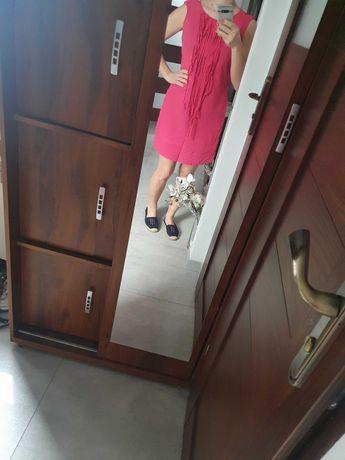 Sukienka różowa z frędzlami rozm 38
