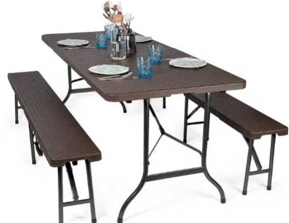 Park Alley składany zestaw ogrodowy stół+dwie ławki brązowy ratan