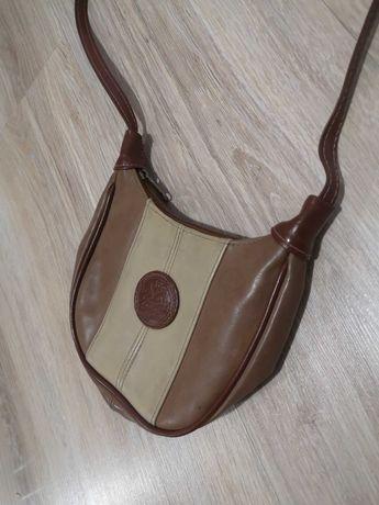 Torebka vintage retro skórzana mini listonoszka kołczan beżowa brązowa