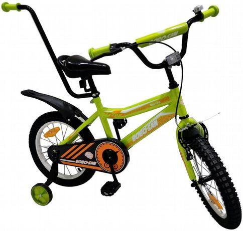 Rowerek rower BMX dziecięcy 16 cali kółka boczne pchacz zielony