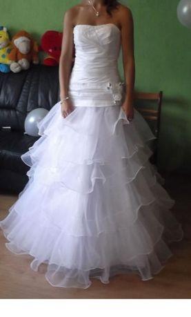 Śliczna suknia ślubna, koło i pokrowiec gratis !!