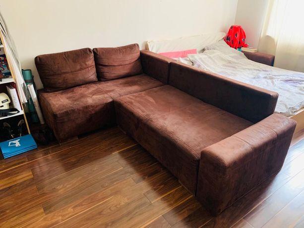 Kanapa sofa narożnik brąz rozkładana super stan
