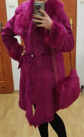 Piękne barwione różowe naturalne futro płaszcz LU-MAN