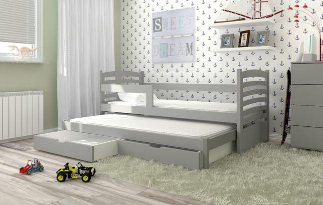 Parterowe łóżko Olek z barierką i materacami gratis