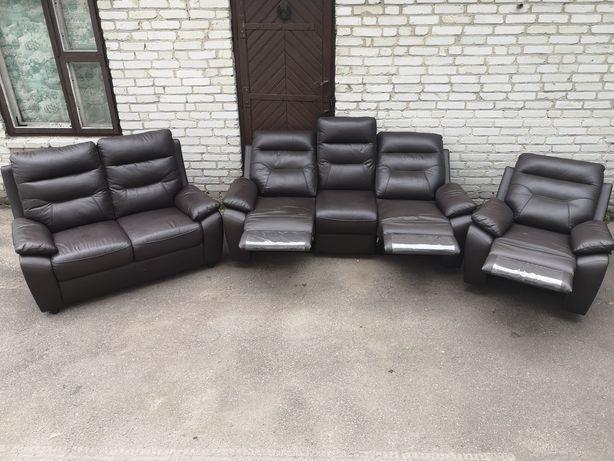 !!!ДОГОВІРНА!!! Шкіряний кожаный комплект диван реклайнер 3 2 1 релакс
