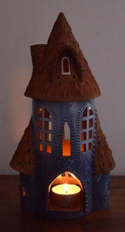 Casa Cerâmica Vidrada–Suporte Incenso em Cone + Teelight - Lituânia
