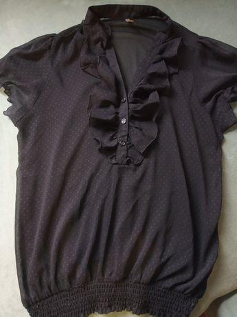 Sexy czarna prześwitująca bluzka z falbankami S