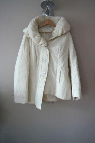 biala gruba elegancka zimowa kurtka bialy zimowy plaszcz 48 46 XXXXL