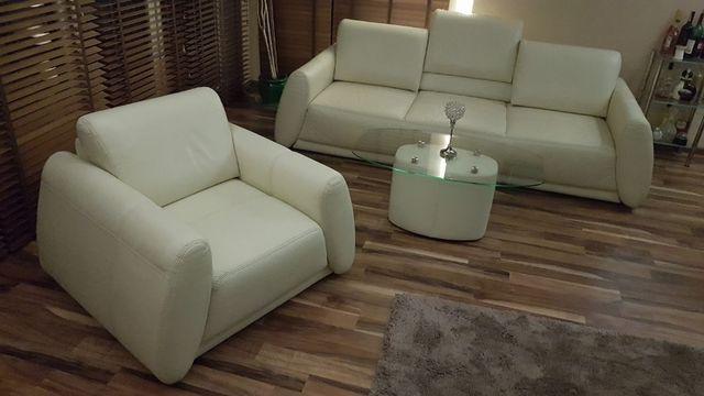 Sofa - Kanapa skórzana z funk. spania, Fotel, Stolik, 40% ceny sklepo.
