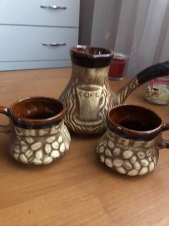 Глиняный набор сервиз для коФе , чашки для кофе