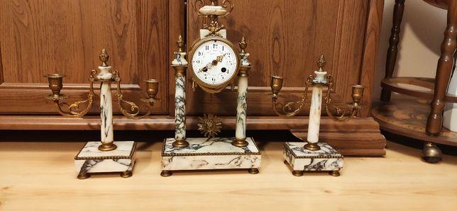 Zegar portykowy z białego marmuru z kandelbarami ok.1900r.