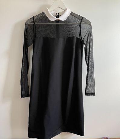 Czarna elegancka sukienka z kołnierzykiem XS