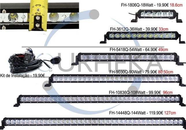 NOVAS Barras Led Super Slim só 2.5cm de expessura 18Watt a 144Watt