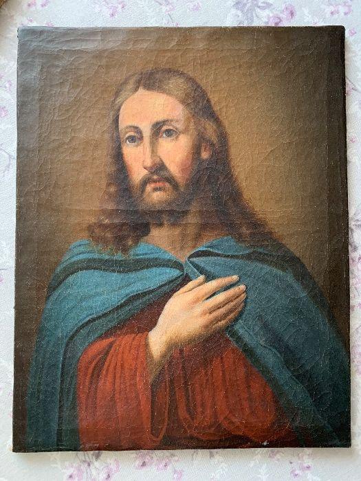 Chrystus obraz olejny na płótnie antyk staroć inwestycja XVIII wiek Warszawa - image 1