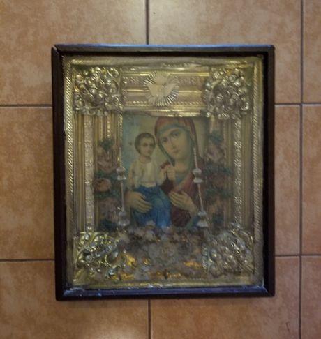 Старинная ИКОНА божией матери с младенцем / 43 х 37 х 10 см