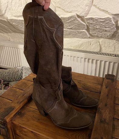 buty kozaki kowbojki z prawdziwej skóry