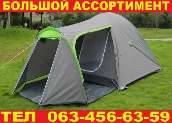 Палатка намет 3-х местная двухслойная с табором. Серая. Польша