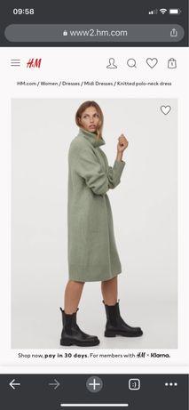Вязаное платье hm oversize XS новое!