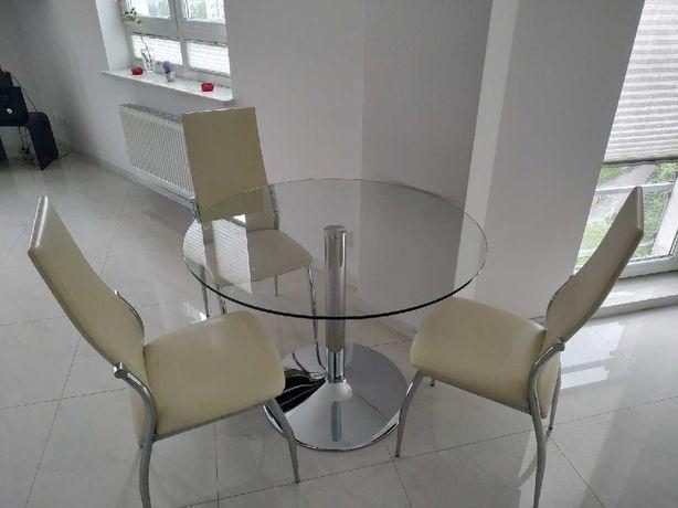 Stół 3 krzesła +kanapa z ekoskóry