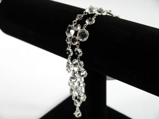 Bransoletka z kryształkami nowa, regulowana, posrebrzana, ślub wesele