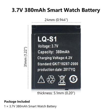 аккумулятор батарея 3,7 v, 380 мАч LQ-S1 для DZ09, QW09, W8, A1, V8, X