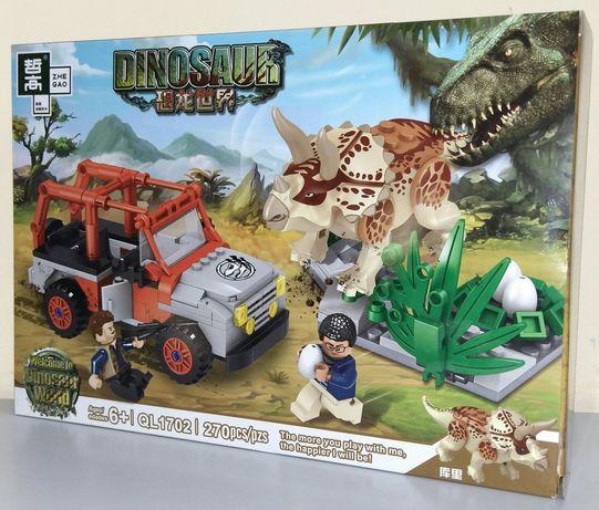 """Конструктор Динозавры QL1702 """"Кража яиц у Трицератопса"""", 270 дет."""